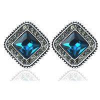 Wholesale Bling Jewellry - Classic Brand Earring Bling Square Shape Crystal Rhinestone Ear Stud Earrings Fashion Jewelry Chic Design Earing Ear Accessories Jewellry