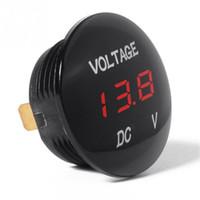 led voltímetro al por mayor-Voltímetro universal Medidor de voltaje a prueba de agua Medidor de voltímetro digital LED rojo para DC 12V-24V Coche Motocicleta Auto Camión