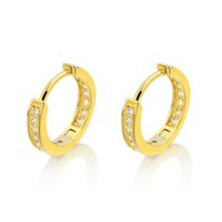 Wholesale Solid White Gold Diamond Earrings - Silver Huggie Earrings Original 925 Sterling Silver Ear Fine Jewelry Simulated Diamond Micro Paved Solid 925 Sterling Silver Hoop Earrings