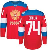 42 tasse großhandel-2016 World Cup Team Russland Männer Hockey Trikots 74 Emelin 72 Bobrovsky 47 Marchenko 42 Anisimov 41 Kulemin 27 Panarin 22 Zaitsev WM-Trikot