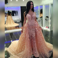 Wholesale Luxury Prom Dresses Sale - Hot Sale Luxury 2016 Evening Gowns Arabic Style with Detachable Train Tulle Night Gown Evening Prom Dress Party Dress