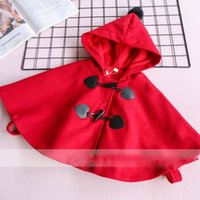 Wholesale Baby Red Cape - Everweekend Girls Button Hoodie Capes Poncho Cute Baby Red Color Fleece Lining Jacket Lovely Kids Christmas Fall Outerwear