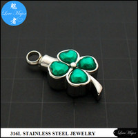 Wholesale Clover Design Necklaces - Hot Selling Clover with Crystal Two Tone design Stainless Steel Cremation Urn Necklace Pendant of Fashion Jewelry