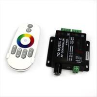 müzik rf uzaktan kumandalı rgb toptan satış-RGB Müzik V2 led kontrol 12-24 V 18A 2CH Ses / Ses kontrolü RF Dokunmatik Uzaktan