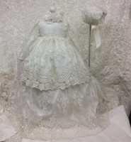 Wholesale Cheap Baby Dress Gowns - Cheap Long Christening Dresses For Baby Girl With Long Sleeves Baptism Gown Sequined Tulle Lace Appliqued Kid First Communication Dress