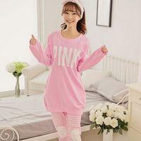 Wholesale Sexy Pyjamas Women - Wholesale- Hot Women Sexy Pyjamas women's pink Pajamas Sets Casual Woman Pijamas Heart Night Wear Fashion Girls Loose Secret Top and Pants