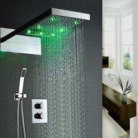 ingrosso pioggia a pioggia a parete-Set doccia a cascata per bagno ad incasso ad alta portata LED a cascata con grande getto a pioggia Set di rubinetti termostatici Lusso