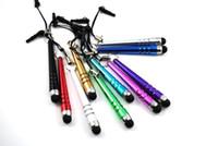bolígrafo táctil al por mayor-Al por mayor-venta al por mayor barra de béisbol stylus capacitiva stylus toque Pen tapa del polvo para iphone 4 5 ipad 3.5 mm plug teléfono móvil 500 unids / lote