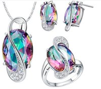 Wholesale Colored Wedding Set - Wedding African Mystic Topaz Jewlery Sets for Brides Sterling Silver Colored Stud Earrings Ring Necklace Bridal Jewelry Set Wholesale