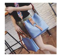 Wholesale Girl Set Ribbon Blue - Woman Bag PU Leather Handbag Fashion Composite Bag 2PCS Set Popular Ribbon Women Shoulder Bag for Young Girl