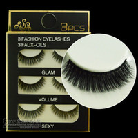 Wholesale Stems Hair - Wholesale-3D31 soft stems handmade simulation mink eyelashes 12mm natural multilayer thick end of multi-filament hair false eyelashes