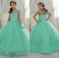 Wholesale Pagent Girl Dresses - Lovely Flower Girls Dresses Jewel Sheer Neck Beaded Rhinestone Girls Pagent Dress Back Lace-up Peplum Tiered Floor-Length Party Gown 2016