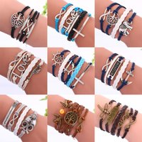 Wholesale Multilayer Bracelet Anchor - Wholesale Infinity Leather Bracelets Fashion Heart Tree Of Life Owl Bird Cross Anchor Multilayer Charm Bracelets For Women