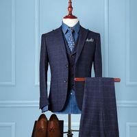 Wholesale Mens Blue Dress Pants - 3 Piece Suits Men British Latest Coat Pant Designs Royal Blue Mens Suit Autumn Winter Thick Slim Fit Plaid Wedding Dress Tuxedos