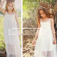 2016 Summer New Small Girl Vestido de praia White Lace Bohemia Slip Dress Moda Sundress Children Clothing 1-6T GF014