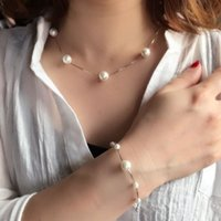 Wholesale Silver Necklace Bracelet Elegant - 925 Sterling Silver Natural Real Pearl Necklace Bracelet Jewelry Sets Elegant Fasion Clavicle Chains Free Shipping