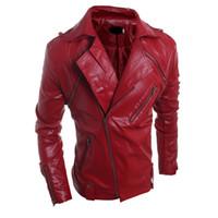 chaquetas de moda de los hombres de china al por mayor-Otoño-2016 China Online Store Mens abrigos de cuero de los hombres de lujo Chaqueta de motociclista abrigos con cremallera moda barata Outwear nueva ropa de gamuza S1108