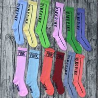 Wholesale Knee Socks For Women - Women Girls VS Pink Knee High Long Socks Victoria Sports Cheerleaders Cotton Secret Socks Football Skateboard Stockings for Ldies