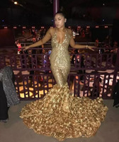 Wholesale Counted Cross - 2018 Gold Deep V Neck Sexy Prom Dresses With Rose Train Low Back Mermaid Evening Gowns Count Train African Vestidos Party Dress