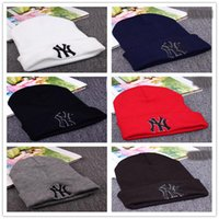 Wholesale Ny Fitted Hats Wholesale - 2017 Winter Warm Knitted Hat NY Letters Embroidered Beanie For Unisex Fashion Outdoor Caps Like Skiing