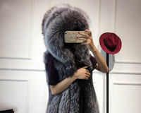 Wholesale Ladies Mink Vests - Luxury Women Faux Fur vest Fashion Winter Ladies Imitation Mink long Hooded vest warm clothing free shipping