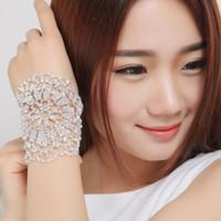 Wholesale Hand Chain Bride Bracelet - Hot Sale Fashion Women Rhinestone Charm Bracelet Bride Wedding Shining Crystal Mesh Hand Chain Bridal Jewelry