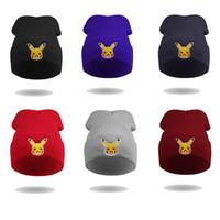 Wholesale Adult Beanie Skull Cap - New Poke Beanie Team Valor Mystic Instinct adult Toboggan Hat Pikachu Skull Cap cartoon Winter hip hop Warm Crochet Knit Pocket