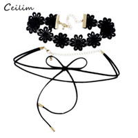 Nova Design Vintage Flower Statement Lace Velvet Choker Necklace para Mulheres Lady Black Long Rope Bowknot Gothic Chokers Fashion Jewelry Gift