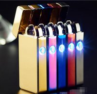Wholesale Lighter Cigar Double - Arc Lighters metal USB Rechargeable Flameless Electric Arc Windproof Cigar Cigarette Lighter Cross Double Pulse Slim Lighter With LED