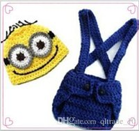 Wholesale Despicable Handmade - 200 BBA4059 kid minions handmade Crochet Knit beanie+pants baby birthday clothing Despicable Me photography Props Costume set christmas gift