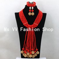 Wholesale Hot Pink Coral Jewelry - nigerian jewelry set coral red handmade balls african crystal beads necklace bracelet earrings for bridal women girls wedding gift