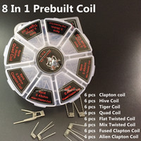 Demon Killer 8 In 1 Prebuilt Coil Box Kit Flat twisted Fused clapton Hive premade wrap wires Alien Mix twisted Tiger Quad DHL