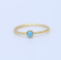 Wholesale turquoise stone wedding ring - US size 6-8 dainty delicate gold filled 3mm turquoise stone minimal girl women jewelry single stone ring