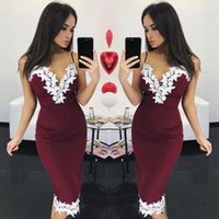 Wholesale Slimmer Spaghetti Strap Dress White - 2017 Short Slim Prom Party Dresses For Ladies Club Wear Sexy Satin Applique Cheap Cocktail Dress