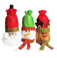 Wholesale Cheap Party Table Covers - DHL Santa Snowman Elk Wine Bottle Covers Bag Merry Christmas Table Decoration Festival Wine Bottle Cover Bags Gift Wrap Party Decor Cheap