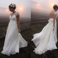 Wholesale Beach Dreams - Vestido De Noiva Praia Backless Chiffon Lace Beach Wedding Dresses Dream Ivory V Neck vestido de casamento