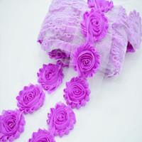 Wholesale Mini Shabby Chic Flowers - 2016 fashion shabby flower triming mini garment applique hair flower, lace ribbon fabric flower chic chiffon shabby trim flower