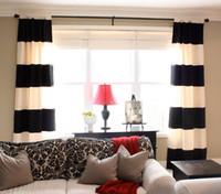 weiße baumwoll-blackout-vorhänge großhandel-Wholesale-ONE PIECE nur Baumwolle schwarz und weiß horizontalen Streifen Vorhang gut für den Wohnzimmer Vorhang modernen Stil Vorhang