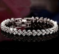pulseras de cristal genuino al por mayor-Pulseras de cristal de lujo de Austria Genuino 925 encantos de la plata esterlina pulsera con Zircon diamante romano tenis pulsera de calidad superior