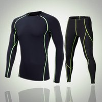 Wholesale Wholesale Running Apparel - Hot Sell Men Compression Sportswear Suits Long Sleeve+Long Pants Wicking Running Quick Dry Apparel Two Pieces Gym Fitness Clothing