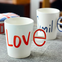 Wholesale Love Couple Cups - Creative Alphabet LOVE White Ceramic Mug Set Couple Cups With Handgrip 2017 Fashion Home Drinkware Resistant High Temperature Coffee Cup