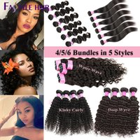 Wholesale Kinky Curly Brazilian Remy Hair - Brazilian Body Deep Water Wave, Straight, Kinky Curly Extensions 4 5 6 Bundles 100% Peruvian Malaysian Indian Virgin Human Hair Weave Wefts