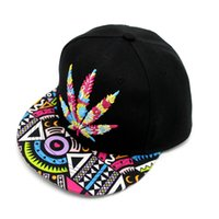 DHL UPS TNT Livraison rapide 1 de Colorful Maple Leaf Baseball Hat Hip-hop Rasta Maple Leaf Pot Flat Pop Bill Baseball Cap Snapback