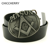 Wholesale Men Belt Buckles Western - Wholesale-Men's Black PU Leather Belt Mason Metal Big Belt Buckles Western Cowboy Fivela Cintos Masculinos De Couro For Men Jeans Gifts