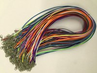 Wholesale Cotton Waxed Cord - Free Shipping 100pcs 16-18 inch mixed color adjustable 1.5mm korea waxed cotton necklace cords with lobster clasp and extension chain