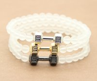 Wholesale Energy Glasses - New Arrival 6mm Frosted Glass Beads & Alloy Fitness Dumbbell Men's Energy Barbell Bracelets , Silver & Gold Dumbell Jewelry