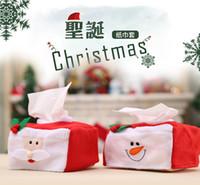 conjuntos de guardanapos venda por atacado-2017 novas decorações de natal caixa de papel capa de guardanapo define papai noel e boneco de neve conjunto de pano decorações bonito