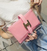 Wholesale Buckle Clutch - The new H buckle lovely transparent bag jelly bag mini clutch handbag chain handbag beach bag current fashion bags 5 color B58