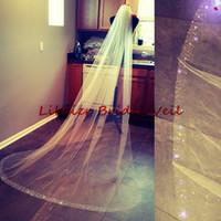 Wholesale 1t Ivory Veil - 2016 New Luxury Swarovski Wedding veil Bridal Veils White Ivory Crystal Bead Cut Edge With Comb 108 Inches 2.5Yard Chapel Length 1T B127AA