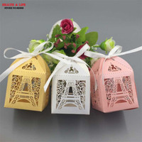 Wholesale Eiffel Tower Favor Boxes - 50pcs Christmas Paris Eiffel tower paper wedding candy box,Party supplies wedding favors and gifts,baby shower favor gift box
